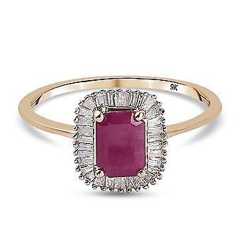 TJC Ruby Halo Ring 9K Yellow Gold Anniversary Gift White Diamond 1.33ct(M)
