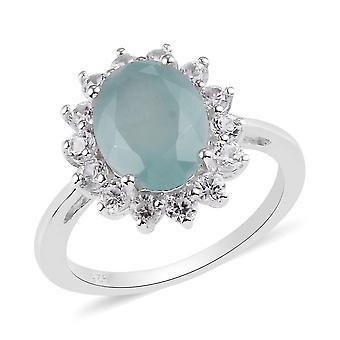 TJC Grandidierite Halo Ring für Damen in Silber mit kambodschanischem Zirkon, 3.75ct(O)