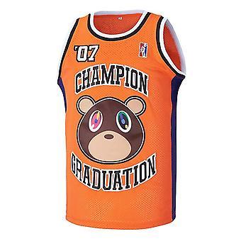 Hommes #07 Ye Champion Graduation Hip Hop Rap Basketball Jersey Cousu