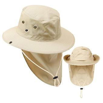 Grand chapeau seau à bord avec ficelle protection uv Capuchon de pêche Camping en plein air Randonnée Pêcheurs Cap Large Bord Cou Protéger Chapeau de soleil