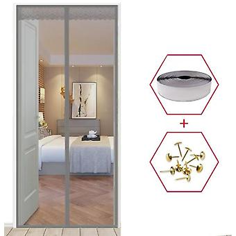 Magic Curtain Door Mesh Magnetic Fastening Mosquito Fly Bug Insect Net Écran Gris