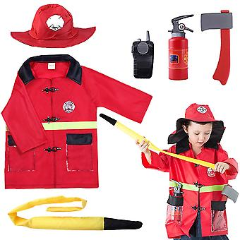 Children's Firefighter Costume Cosplay Set 3 4 5 6 Years Old Boys And Girls Birthday Gifts