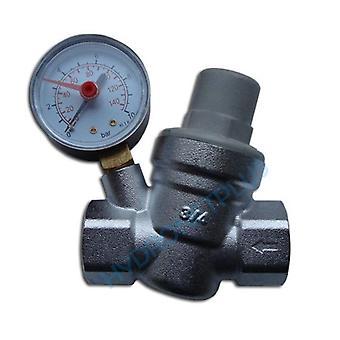 """Vatten tryckreducerande ventil 1/2 """"3/4"""" kvinnliga för 15 / 22mm rör med mätare"""