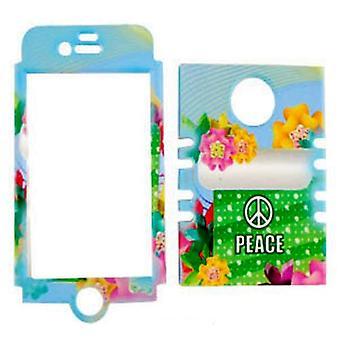 Rocker-sarjan Snap-on suoja kotelo Apple iPhone 4/4S: lle (rauhan merkki ja värikkäät kukat)