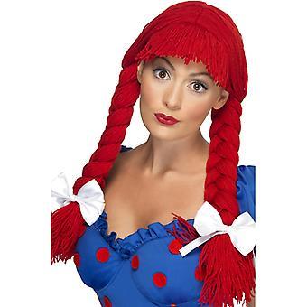 Poppen pruik rode grof pop Dolly pruik