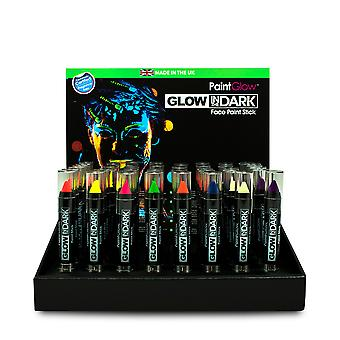 Dark Face Paint Stick PaintGlow Glow, 8 Çeşitli Renkler - İngiltere'de 3g Made in