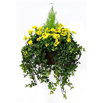 Artificial Silk Pansy Deluxe Large Hanging Basket