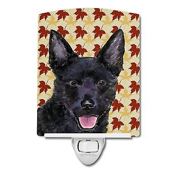 Australian Kelpie Fall Leaves Portrait Ceramic Night Light