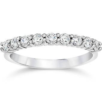 1/2ct Diamond Wedding Ring Half Eternity Wedding Band 14K White Gold