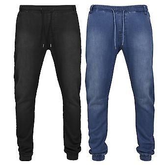 Тренировочные брюки городских классики Трикотажное деним