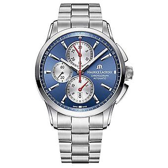 Maurice Lacroix Men's Pontos Chronograph Stainless Steel Blue Dial PT6388-SS002-430-1 Watch