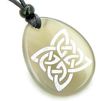 Magisches Schild Keltische Knoten Glück Amulett Wort Stein Halskette