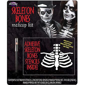 Skeleton Bones Day Of The Dead Mexican Halloween Mens Costume Makeup Kit