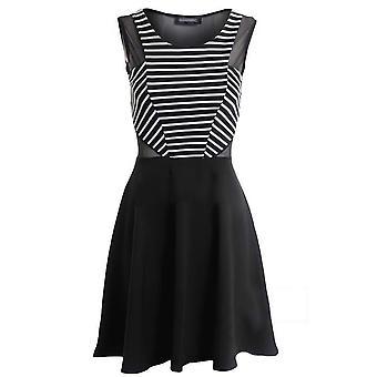 Nieuwe dames mouwloos zwart witte streep Mesh invoegen vrouwen Skater jurk