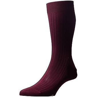 Pantherella Vale Rib katoen sokken in Schotse draad - Bourgondië