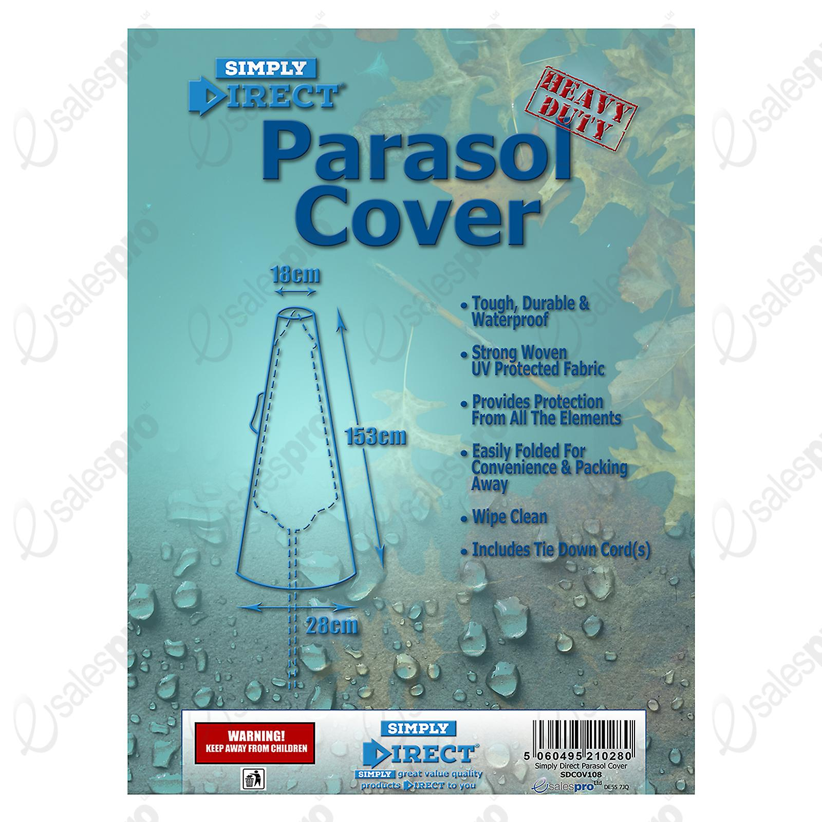 Simply Direct Parasol Cover - Waterproof WeatherProof Outdoor Protector