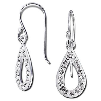 Gota - pendientes de cristal de plata de ley 925 - W14742X