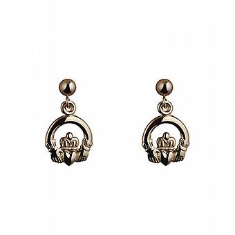 9ct Gold 9mm dropper Claddagh Earrings