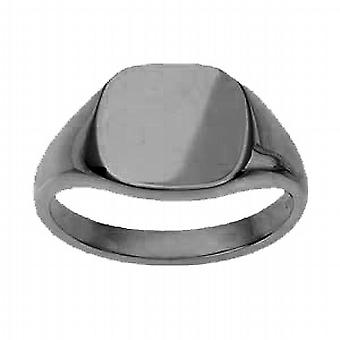 18ct White Gold 13x13mm solid plain cushion Signet Ring Size W