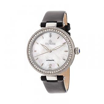 Empress Louise Automatic MOP Leather-Band Watch - Silver