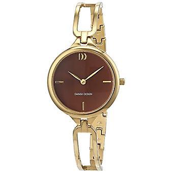 Quartz horloge Deense Design gouden roestvrij-staal verzinkt band en analoge display Brown bellen 3320217