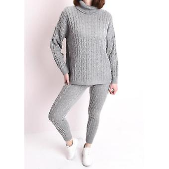 Roll-Hals Kabel stricken Loungewear Set grau