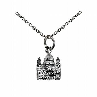 Silver 11x10mm solid St. Paul's Cathedral Pendant with a rolo Chain 24 inches
