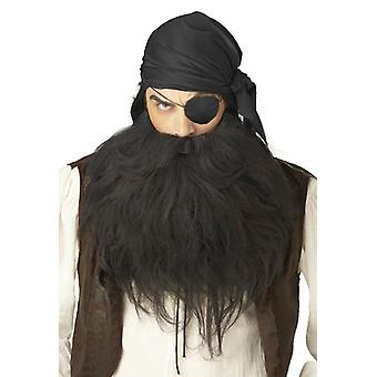Pirate Gangster Black Men Costume Beard & Moustache Set