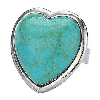 Turquoise Heart Adjustable Fashion Ring