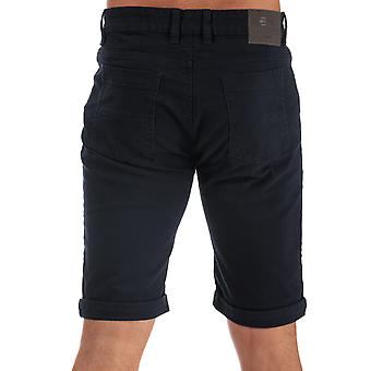 Mens Crosshatch Black Label Cottrell Chino Shorts In Navy- Zip Fly- Turn Up