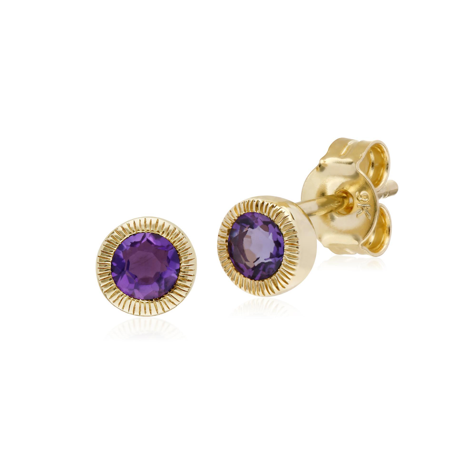 Gemondo 9ct Yellow Gold Amethyst Single Stone Round Milgrain Stud Earrings