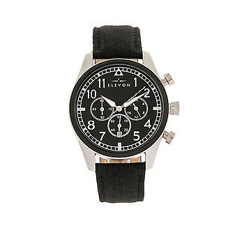 Elevon Curtiss Chronograph Nylon-Overlaid Leather-Band Watch - Silver/Black