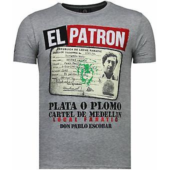 El patron narcos Billionaire-rhinestone T-shirt-grå