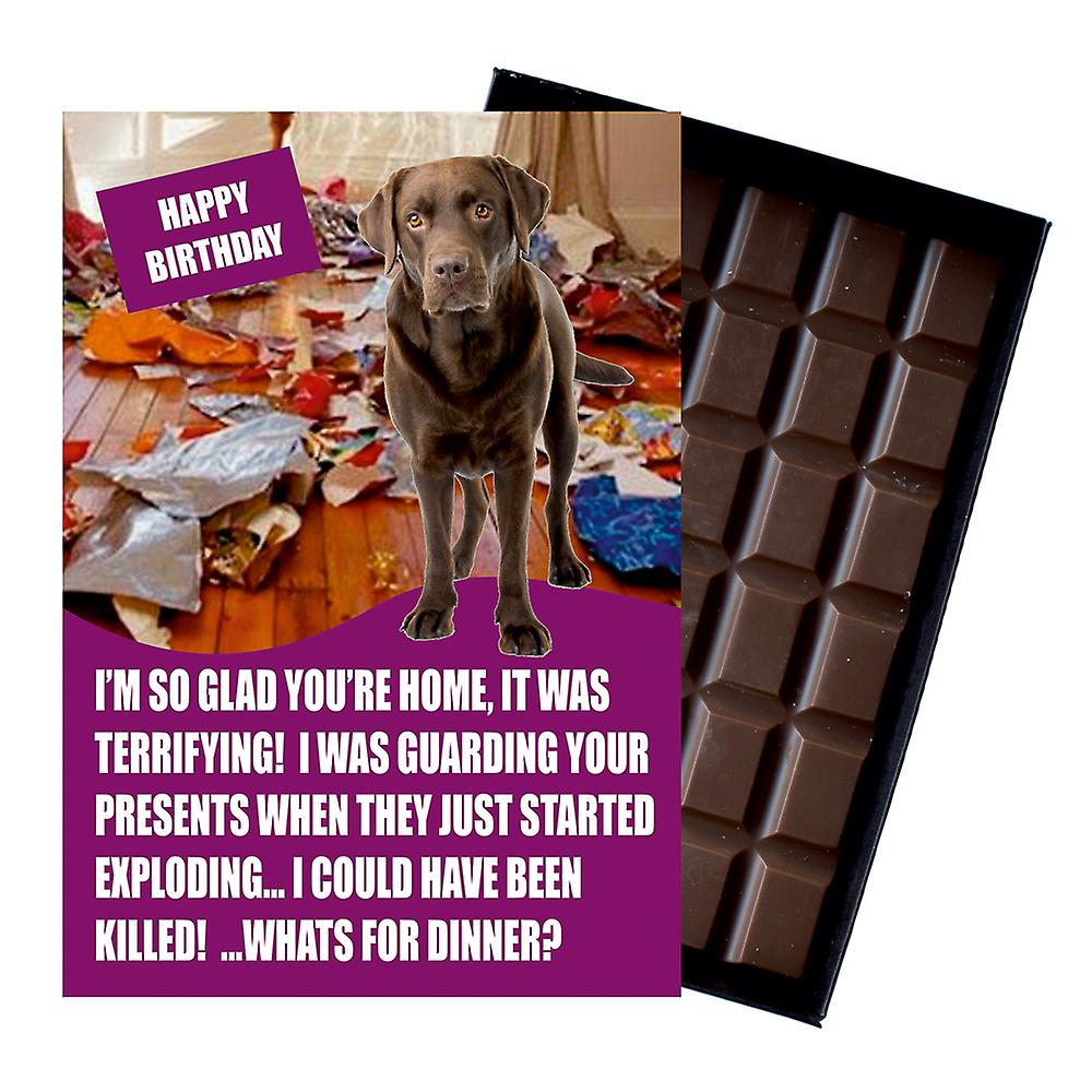 Chocolate Labrador Retriever Gifts for Birthday  Dog Lover Boxed Chocolate Greeting Card Present