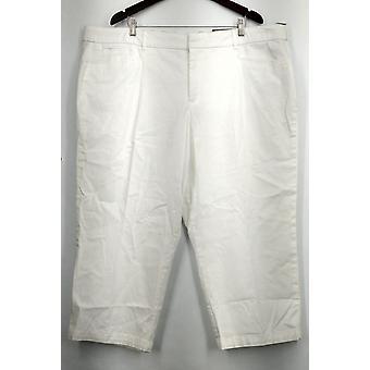JM Collection Pants Tummy Control Capri Solid White Womens