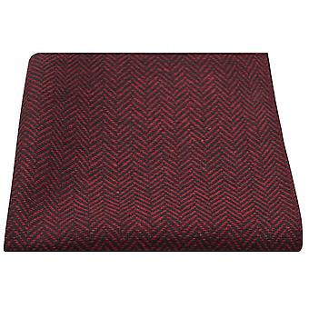 Cranberry Red & Black Herringbone Pocket Square, Handkerchief