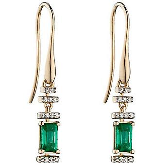 Elements Gold Emerald and Diamond Deco Earrings - Green/Gold/Silver
