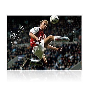 Dennis Bergkamp Signed Arsenal Photo: The Statue