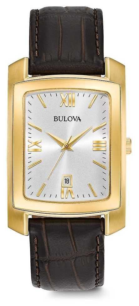Bulova Mens Dress Brown Leather Strap 97B162 Watch