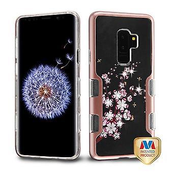 MYBAT metallic rose gull/vår blomster Diamante TUFF Panoview hybrid Protector deksel til Galaxy S9 Plus