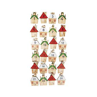 24 Small Assorted Numbered House Pegs for Advent Calendar Crafts
