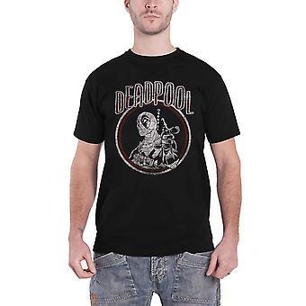 Deadpool T Shirt Vintage Circle distressed logo new Official Marvel Mens Black