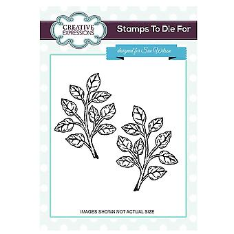 Creative Expressions Pre-Cut Rubber Stamp Sue Wilson UMS662 Shaded Orange Blossom Leaves