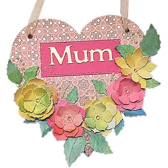 Floral Mum Hanging Heart Wall Plaque by Lilypond Crafts