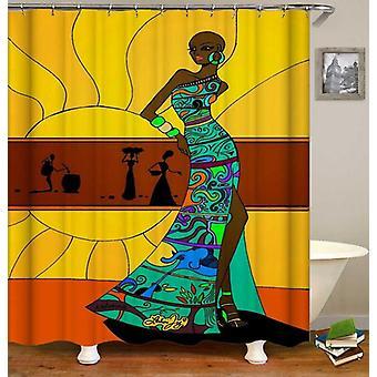 امرأة أفريقية مع ستارة دش اللباس الملونة