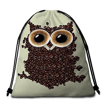 Cool Coffee Beans Owl Beach Towel