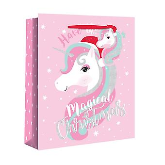 Eurowrap Christmas Gift Bags With Unicorn Design (Pack Of 12)