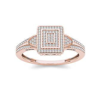 IGI Certified Natural 10k Rose Gold 0.25 Ct Diamond Halo Engagement Wedding Ring