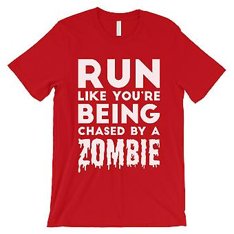 Chased By Zombie Mens Red Wonderful Funny Halloween Costume T-Shirt