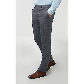 Dobell Mens Blue Tweed Trousers Slim Fit Prince of Wales Check